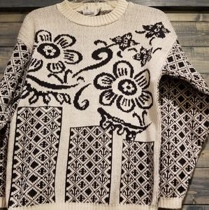 Vintage Sweaters - Vintage Cotton 80s Floral Geometric Sweater